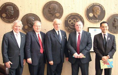 Academy President Dr. Thomas P. Rosandich (center) meets with members of the WLO Board of Directors (from left to right) Mr. Jack Agrios from Alberta, Canada, Secretary General Dr. Chris Edginton from the University of Northern Iowa, Chairman of the Board Mr. Derek Casey from Edinburgh, United Kingdom, and Dr. Ricardo Uvinha from Sao Paul, Brazil.