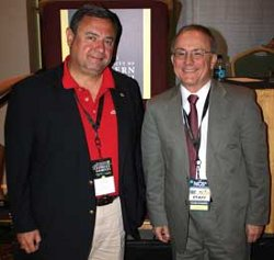 Academy Vice President Dr. T.J. Rosandich (left) met with Dr. Lou Marciani, the Director of the National Center for Spectator Sports Safety and Security (NCS4), during the NCS4s annual Conference and Exhibition in New Orleans, LA on 3 August 2010.