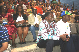 The delegation from Gabon attends the Fairhope-Baldwin County High School football game.