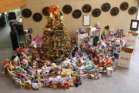 The Christmas tree in the Academy's Main Lobby overflowed with donations for the Toys for Tots campaign in 2009.