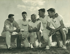 Pictured from left to right: Dr. Thomas P. Rosandich (Head Track and Field Coach of the Quantico Marines); Wes Santee (Kansas); Everett Trader (Occidental); Bill Taylor (USC); and Cordell Brown (Utah State).  The above pictured individuals composed the best mile relay team in the United States in 1956.