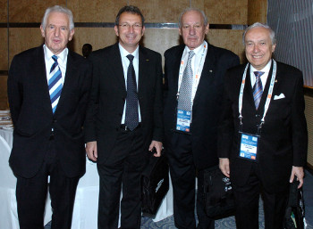 Photographed from left: Jean Durry, Founder of the French National Sport Museum, France; Professor Konstantino Georgiadis, Honorary Dean of the International Olympic Academy, Greece; Dr. Thomas P. Rosandich, President of the United States Sports Academy, United States; and Dr. Franco Ascani, President of the International Sport Cinema and Television Federation (FICTS), Italy.