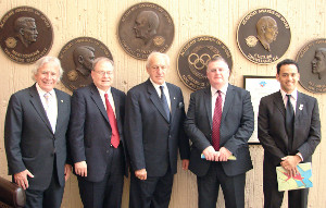 Left to right: Jack Agrios from Alberta, Canada; Secretary General Dr. Chris Edington from the University of Northern Iowa; Thomas P. Rosandich, Academy President; Chairman of the Board Derek Casey from Edinburgh, United Kingdom; and Dr. Ricardo Uvinha from Sao Paulo, Brazil.