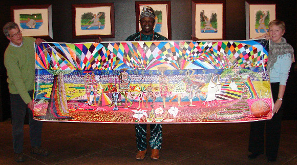"Ibiyinka Olufemi Alao of Nigeria displayed the original of his work: ""Grace: That Even The World Can Pass Through It."""