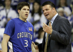 First-year Creighton University Coach Greg McDermott, a 1994 graduate of the United States Sports Academy, and his son, Greg, left, helped lead the Blue Jays to victory over Northern Iowa.