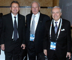 Academy President Dr. Thomas P. Rosandich (middle) with Dr. Franco Ascani (right), President of FICTS, and Professor Konstantino Georgiadis, Honorary Dean of the International Olympic Academy, at the IOC's 7th World Conference on Sport, Education, and Culture in Durban, South Africa, in 2010.