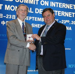 Academy Vice President and COO Dr. T.J. Rosandich (right) with Hervé Fischer, International Federation of Multimedia Associations chairman, at the 7th World  Summit on Internet and Multimedia in China.