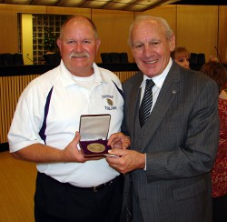 Dr. Thomas P. Rosandich with Daphne Mayor Fred Small