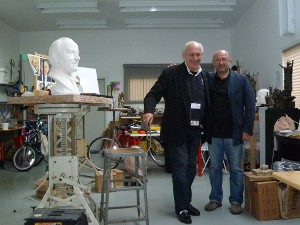 Academy President and CEO Dr. Thomas P. Rosandich (left) with Sergey Eylanbekov (right), the Academy's 2004 Sport Artist of the Year, at the artist's studio in New York City.